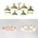 Modern Dome Chandelier Wood 8 Lights Pink/Green/White Hanging Light for Living Room