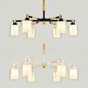 Nordic Style Black/White Chandelier Cylinder 6 Lights Wood Glass Hanging Light for Restaurant