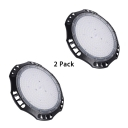 1/4 Pack Black LED Bay Lighting Slim UFO Aluminum High Brightness Hanging Light for Supermarket