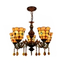 5 Lights Bell Shade Chandelier with Crystal Vintage Style Glass Pendant Light in Beige for Restaurant