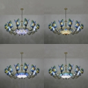 Tiffany Style Hanging Light Dome Shade 13 Lights Stained Glass Chandelier with Butterfly for Hotel