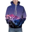 3D Galaxy Geometric Printed Long Sleeve Drawstring Purple Unisex Hoodie with Pocket