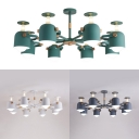 Creative Wine Glass Hanging Light Metal 8 Lights Macaron White/Gray/Green Chandelier for Dining Room