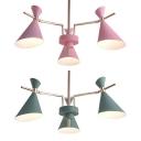 Girl Bedroom Horn Shade Chandelier Metal 3 Lights Nordic Style Macaron Pink/Green Hanging Light