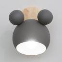 1 Light Globe Wall Light Lovely Metal Sconce Lamp in Macaron Gray for Boy Girl Bedroom