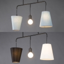 Black-White/Blue Tapered Island Fixture 3 Lights Contemporary Fabric Suspension Light for Bar