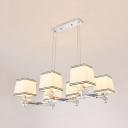 Fabric Metal Island Light Dining Room 6/8 Lights Modern Style Pendant Lighting in Chrome