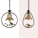 Flower Shade Hanging Lamp 1 Light Glass Ceiling Light with Bird Decoration for Balcony