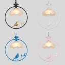 1 Light Petal Ceiling Light Rustic Style Frosted Glass Suspension Light with Bird Decoration for Study Room