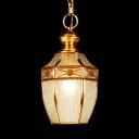Lantern Shape Restaurant Suspension Light Glass 1 Light Traditional Pendant Lamp in Brass