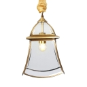 Clear Glass Bell Pendant Light Dining Room 1 Light Traditional Style Ceiling Light in Brass