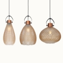 Single Light Pendant Lighting Nordic Style Lattice Glass Hanging Light for Bar Living Room