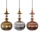 Glass Melon Shape Pendant Light Living Room 1 Light Modern Hanging Light in Copper/Chrome/Gold
