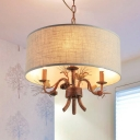 Fabric Drum Shade Hanging Light Villa 3 Lights Rustic Style Chandelier with Bird Decoration in Rust