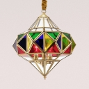 Stained Glass Candle Pendant Light with Shade Restaurant 3 Lights Colonial Style Chandelier