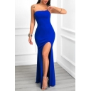Women's Elegant Off The Shoulder Sleeveless Plain Split Detail Maxi Bodycon Navy Dress
