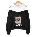 Cute Cartoon Grumpy Cat HAPPY Letter Print Cold Shoulder Long Sleeve Pullover Hoodie