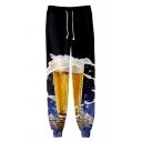 Cool 3D Beer Print Drawstring Waist Guys Cotton Loose Pants Sweatpants