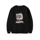 Cute Grumpy Cat Letter HAPPY Round Neck Loose Fit Unisex Pullover Sweatshirt