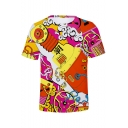Guys Summer Cool Colorful Pattern 3D Printed Basic Round Neck Short Sleeve Fitted T-Shirt