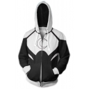 3D Colorblocked Cosplay Costume Long Sleeve Relaxed Fit Zip Up Black and White Hoodie