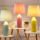 Modern Style Tapered LED Desk Light 1 Head Fabric Reading Light in Blue/Pink/Yellow for Bedroom