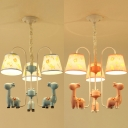 Lovely Blue/Pink Chandelier Tapered Shade 3 Lights Resin Pendant Light with Giraffe for Kid Bedroom