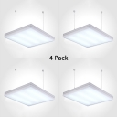 1/4 Pack Square LED Hanging Light Slim Panel Acrylic Ceiling Light in Black/Silver for Meeting Room