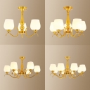 Elegant Style Bud Shade Ceiling Light Frosted Glass 3/5/6/8 Lights Brass Ceiling Lamp for Study Room