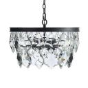 American Rustic Drum Chandelier Clear Crystal 3 Lights Black Hanging Lamp for Restaurant Shop