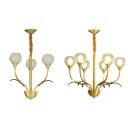 Traditional Brass Suspension Light Plant Shape 3/6 Lights Metal Hanging Light for Bedroom