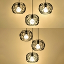 Vintage Globe Pendant Light 3 Lights Metal Hanging Lamp with Linear/Round Canopy in Black for Kitchen