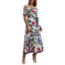 Off The Shoulder Short Sleeve Floral Printed Bow-Tied Waist Split Side Midi A-Line Dress