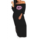 Women's Hot Fashion Off The Shoulder Bow Long Sleeve Lips Printed Split Side Maxi Shift Dress