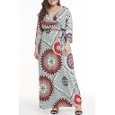 Women's Trendy V-Neck Long Sleeve Tribal Printed Split Side Maxi Swing Dress
