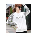 Womens Star Tribal Print White Round Neck Long Sleeve Sweatshirt