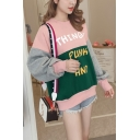 THING PUNK AND Letter Colorblock Round Neck Long Sleeve Loose Sweatshirt