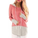 Women's Fashion Colorblock Long Sleeve Patchwork Drawstring Hoodie