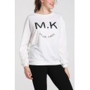 Fashion Smile Face Letter MK FALLEN ANGEL Printed Crewneck Long Sleeve Pullover Sweatshirt