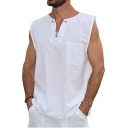 Guys Elelet Lace-Up V-Neck Sleeveless Solid Color Linen Casual Loose Shirt Tank