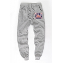 Men's Unique Simple Letter NY Printed Drawstring Waist Casual Cotton Sweatpants