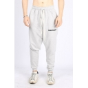 Guys Simple Letter Logo Printed Drawstring Waist Sport Loose Training Joggers Sweatpants