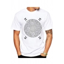 Cool Trendy Circle Number Letter Pai Printed Short Sleeve White Tee