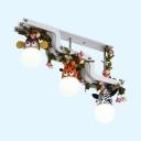 Lovely Animal Semi Flush Mount Light with Leaf 3 Lights Woos LED Ceiling Lamp in Warm/White for Child Bedroom