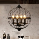 4 Lights Wire Frame Chandelier with Candle Traditional Metal Hanging Light in Black for Shop