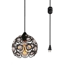 Globe Restaurant Hanging Lamp Metal 1 Light Antique Plug In Pendant Light with Clear Crystal in Black