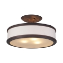 Rustic Style White Semi Flush Light Round Shade 3 Lights Linen Ceiling Light for Cottage