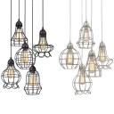 Restaurant Wire Frame Ceiling Pendant Metal 5 Lights Industrial Black/Silver Hanging Light