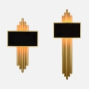 Metal Rectangle Wall Light 2 Lights Contemporary Sconce Light in Gold for Foyer Restaurant