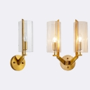 Metal Candle Wall Sconce Stair with Cylinder Shade 1/2 Lights Traditional Wall Light in Brass
